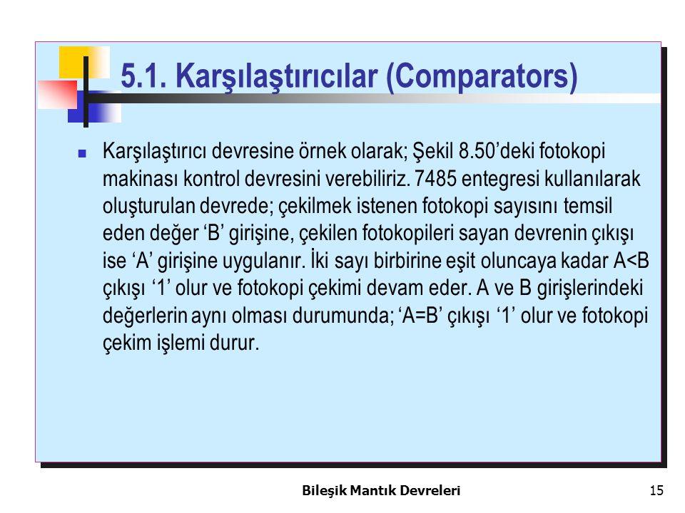 Bileşik Mantık Devreleri 15 5.1. Karşılaştırıcılar (Comparators) Karşılaştırıcı devresine örnek olarak; Şekil 8.50'deki fotokopi makinası kontrol devr