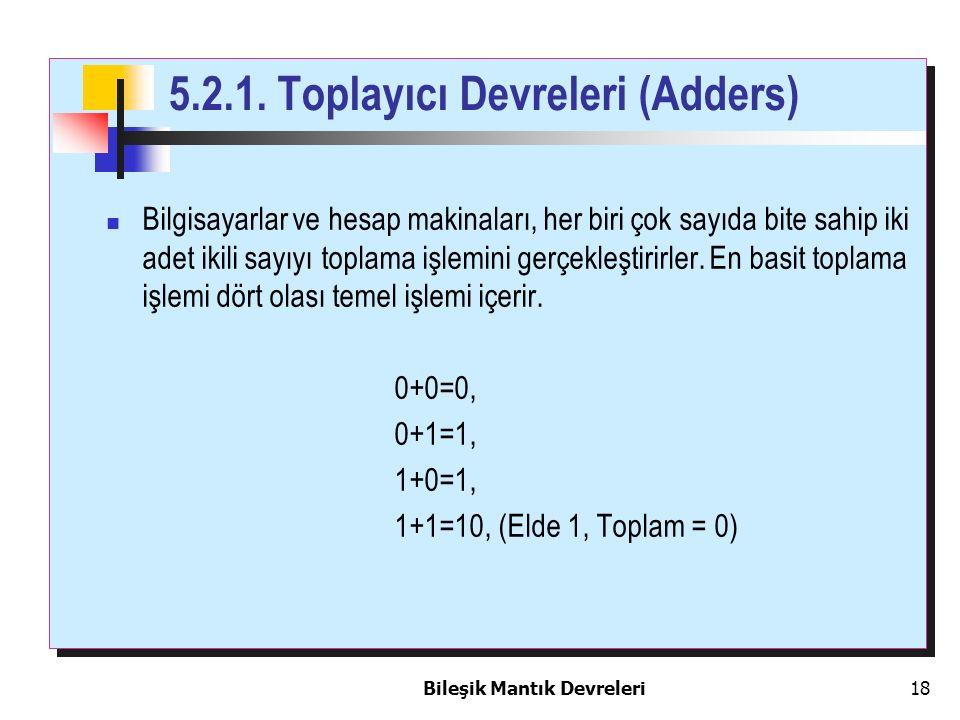 Bileşik Mantık Devreleri 18 5.2.1. Toplayıcı Devreleri (Adders) Bilgisayarlar ve hesap makinaları, her biri çok sayıda bite sahip iki adet ikili sayıy