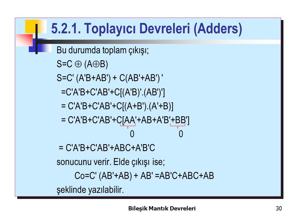 Bileşik Mantık Devreleri 30 Bu durumda toplam çıkışı; S=C  (A  B) S=C' (A'B+AB') + C(AB'+AB') ' =C'A'B+C'AB'+C[(A'B)'.(AB')'] = C'A'B+C'AB'+C[(A+B')