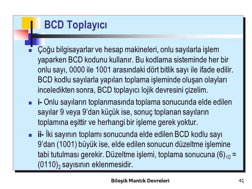 Bileşik Mantık Devreleri 41 BCD Toplayıcı Çoğu bilgisayarlar ve hesap makineleri, onlu sayılarla işlem yaparken BCD kodunu kullanır. Bu kodlama sistem