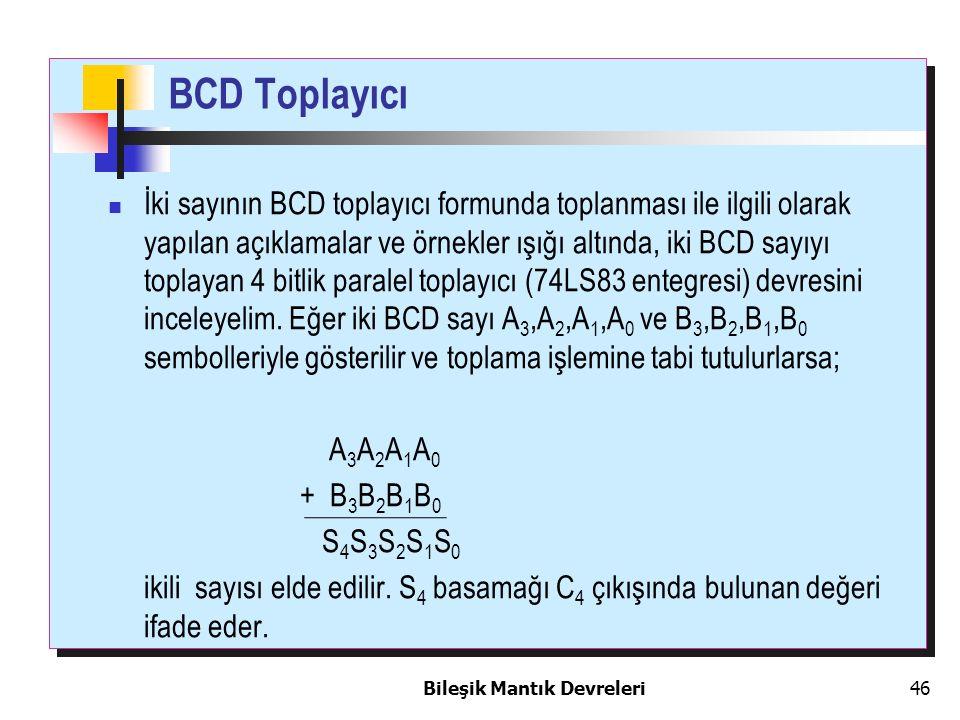 Bileşik Mantık Devreleri 46 BCD Toplayıcı İki sayının BCD toplayıcı formunda toplanması ile ilgili olarak yapılan açıklamalar ve örnekler ışığı altınd