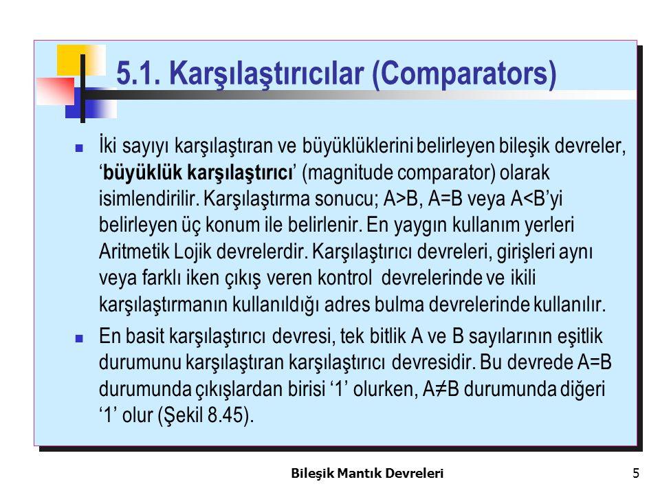 Bileşik Mantık Devreleri 5 5.1. Karşılaştırıcılar (Comparators) İki sayıyı karşılaştıran ve büyüklüklerini belirleyen bileşik devreler, ' büyüklük kar
