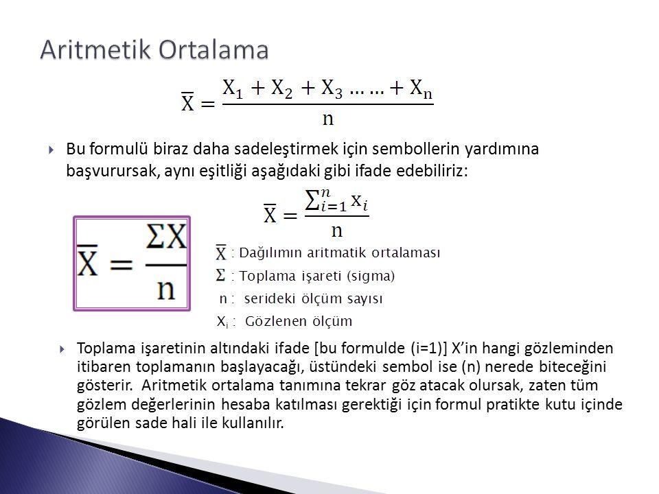  Bu formulü biraz daha sadeleştirmek için sembollerin yardımına başvurursak, aynı eşitliği aşağıdaki gibi ifade edebiliriz:  Toplama işaretinin altındaki ifade [bu formulde (i=1)] X'in hangi gözleminden itibaren toplamanın başlayacağı, üstündeki sembol ise (n) nerede biteceğini gösterir.