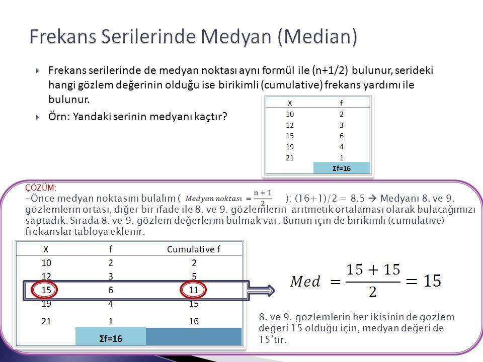  Frekans serilerinde de medyan noktası aynı formül ile (n+1/2) bulunur, serideki hangi gözlem değerinin olduğu ise birikimli (cumulative) frekans yardımı ile bulunur.