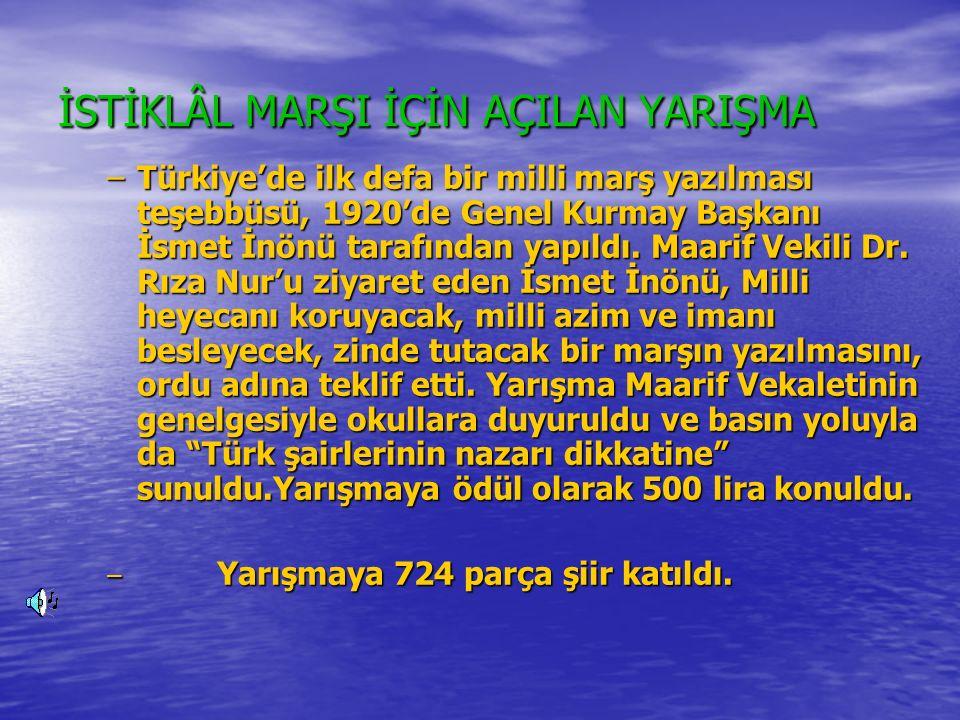 YARIŞMAYA KATILAN BAZI MARŞLAR İSTİKLÂL MARŞI İSTİKLÂL MARŞI Türk'ün evvelce büyük bir pederi Türk'ün evvelce büyük bir pederi Çekti sancağa hilâl-i seheri Çekti sancağa hilâl-i seheri Kanımızla boyadık bahr ü beri Kanımızla boyadık bahr ü beri Böyle aldık bu güzel ülkeleri Böyle aldık bu güzel ülkeleri İleri, arş ileri, arş ileri İleri, arş ileri, arş ileri Geri kalsın vatanın kahpeleri Geri kalsın vatanın kahpeleri Seni ihya için ey namı büyük Seni ihya için ey namı büyük Vatanım uğruna öldük,öldük Vatanım uğruna öldük,öldük Ne büyük kaldı bu yolda ne küçük Ne büyük kaldı bu yolda ne küçük Siper oldu dağlar gibi sana Türk Siper oldu dağlar gibi sana Türk Yürü ey milletin efradı yürü Yürü ey milletin efradı yürü Ak sütü emmiş vatan evladı yürü Ak sütü emmiş vatan evladı yürü Vatan evladın kurban edeli Vatan evladın kurban edeli Milletin hür yaşamaktır emeli Milletin hür yaşamaktır emeli Veremez kimseye bir Çamlıbeli Veremez kimseye bir Çamlıbeli Bağlanır mı acaba Türk'ün eli Bağlanır mı acaba Türk'ün eli İleri, arş ileri, arş ileri İleri, arş ileri, arş ileri Çiğnenir çünkü kalan yolda geri Çiğnenir çünkü kalan yolda geri HÜSEYİN SUAD HÜSEYİN SUAD