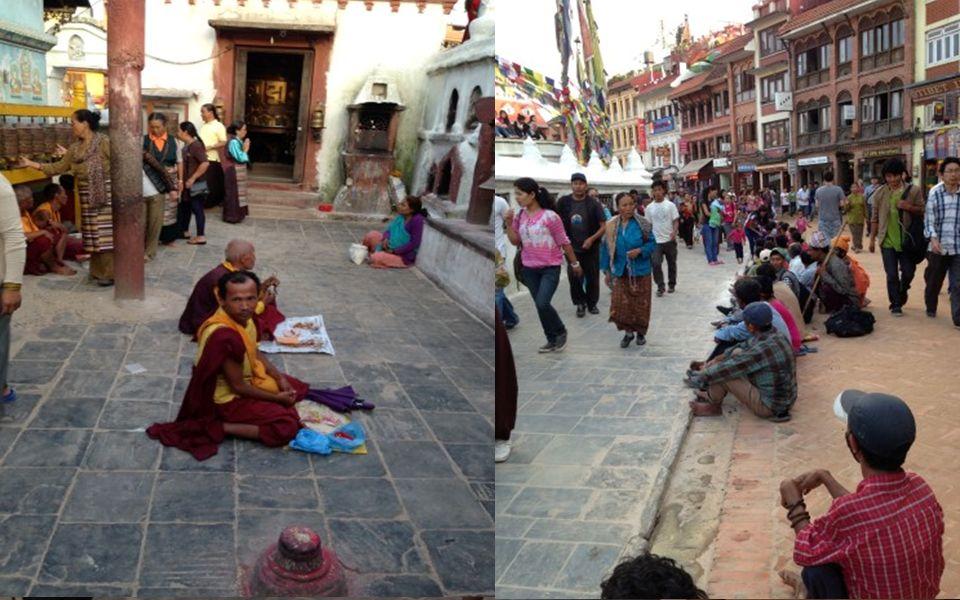 % 60'ı Budist ve % 40'ı Hindu dininden oluşan bir toplumda Yan yana olan tapınaklarda barış içinde yaşayan insanlar, Bhaktapur'da VİŞNU