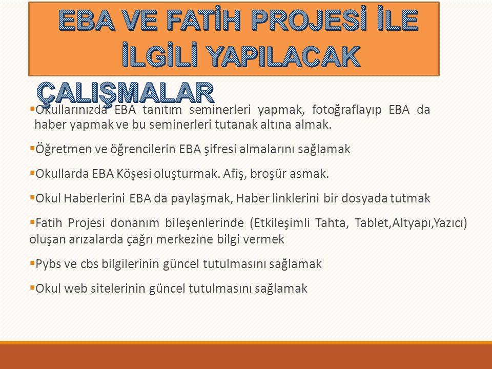  Okullarınızda EBA tanıtım seminerleri yapmak, fotoğraflayıp EBA da haber yapmak ve bu seminerleri tutanak altına almak.
