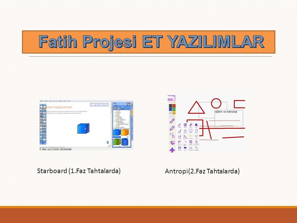 ET Yazılımları Starboard (1.Faz Tahtalarda) Antropi(2.Faz Tahtalarda)