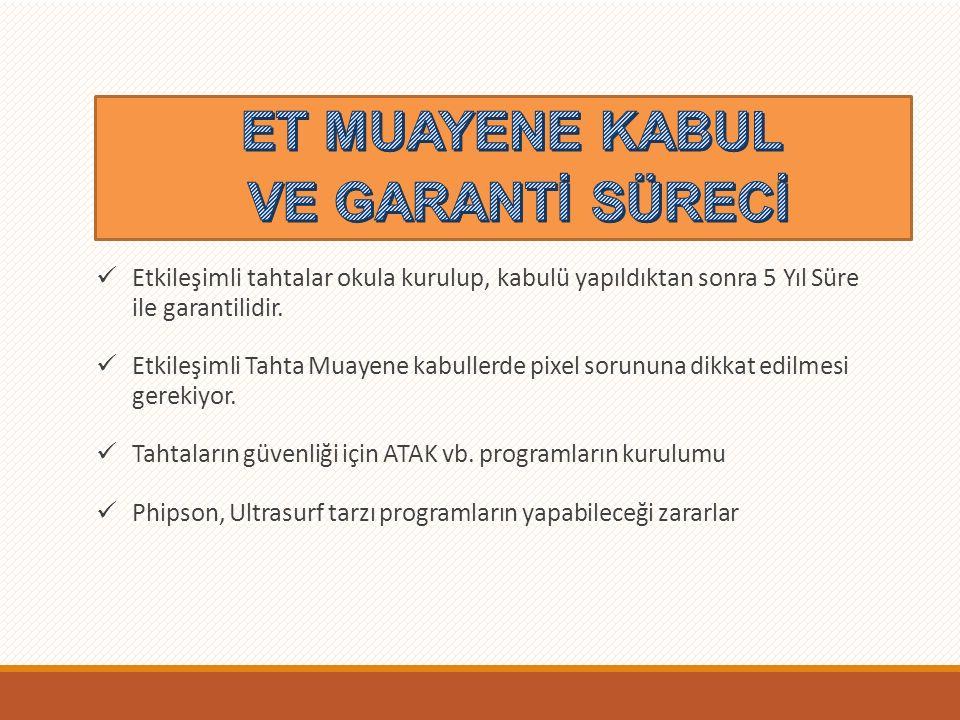 ET Garantileri Etkileşimli tahtalar okula kurulup, kabulü yapıldıktan sonra 5 Yıl Süre ile garantilidir.