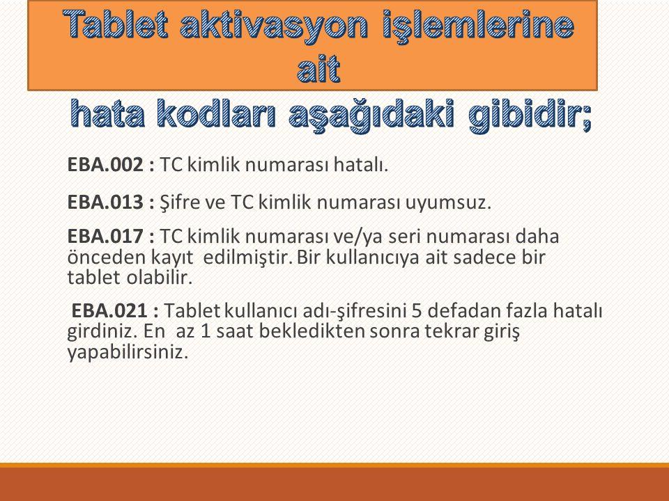 EBA.002 : TC kimlik numarası hatalı. EBA.013 : Şifre ve TC kimlik numarası uyumsuz.