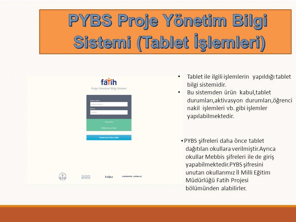 PYBS Proje Yönetim Bilgi Sistemi (Tablet İşlemleri) Tablet ile ilgili işlemlerin yapıldığı tablet bilgi sistemidir.