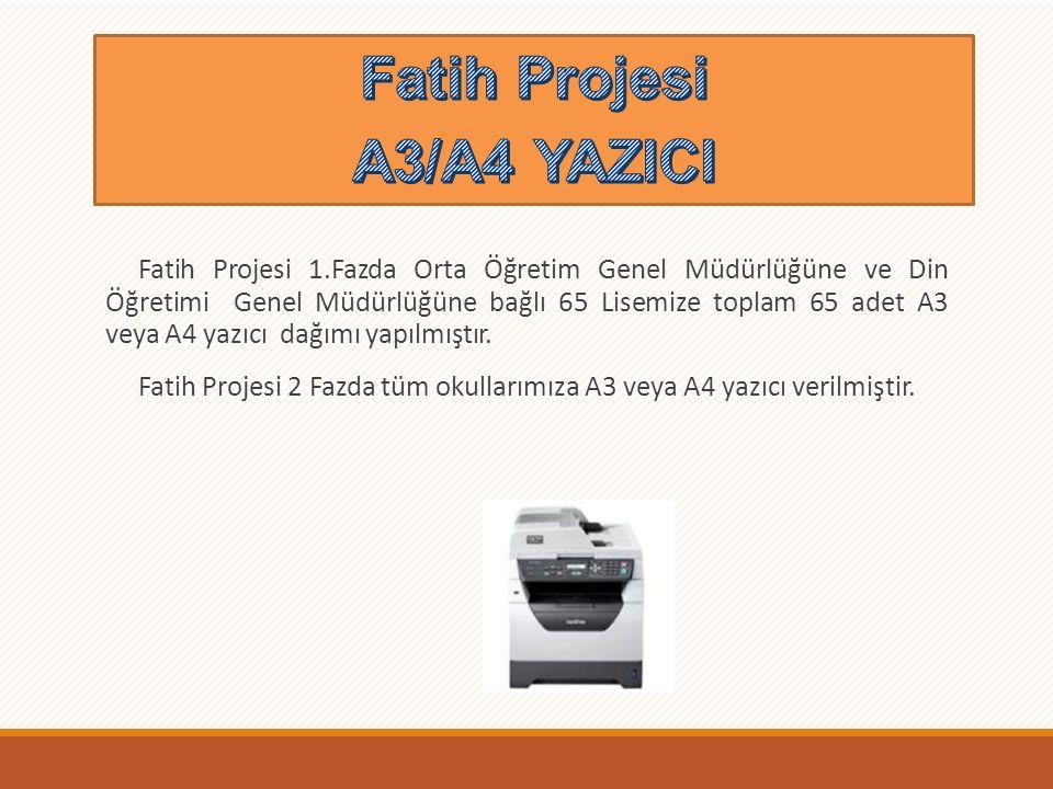 Fatih Projesi 1.Faz kapsamında olan Ortaöğretim Genel Müdürlüğüne bağlı 65 Anadolu Lisesine 65 adet döküman kamera dağıtımı yapılmıştır