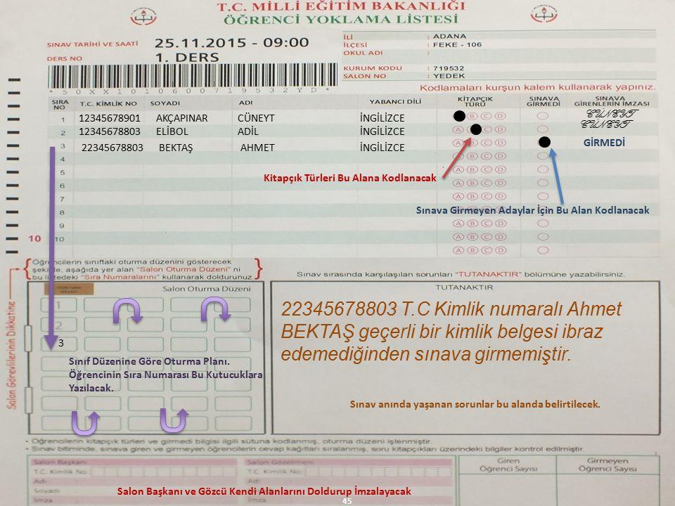 12345678901AKÇAPINARCÜNEYTİNGİLİZCE CÜNEYT 12345678803ELİBOLADİLİNGİLİZCE 3 GİRMEDİ 22345678803BEKTAŞAHMETİNGİLİZCE CÜNEYT 22345678803 T.C Kimlik numaralı Ahmet BEKTAŞ geçerli bir kimlik belgesi ibraz edemediğinden sınava girmemiştir.
