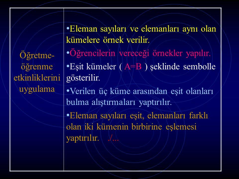 Öğretme - öğrenme etkinliklerini uygulama A={,,, } B={,,, } Belirtilen iki kümenin birebir eşlemesi yaptırılır.