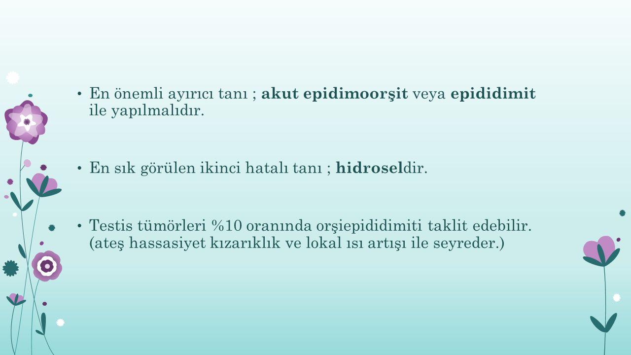 En önemli ayırıcı tanı ; akut epidimoorşit veya epididimit ile yapılmalıdır. En sık görülen ikinci hatalı tanı ; hidrosel dir. Testis tümörleri %10 or
