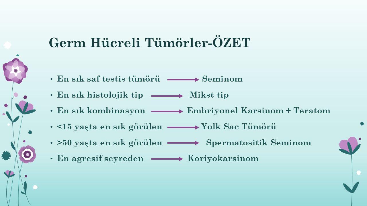 Germ Hücreli Tümörler-ÖZET En sık saf testis tümörü Seminom En sık histolojik tip Mikst tip En sık kombinasyon Embriyonel Karsinom + Teratom <15 yaşta
