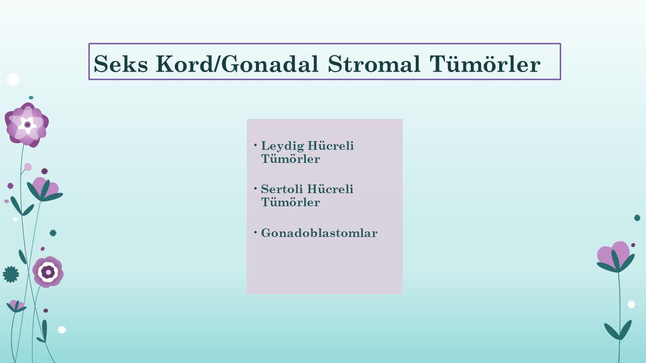 Seks Kord/Gonadal Stromal Tümörler Leydig Hücreli Tümörler Sertoli Hücreli Tümörler Gonadoblastomlar