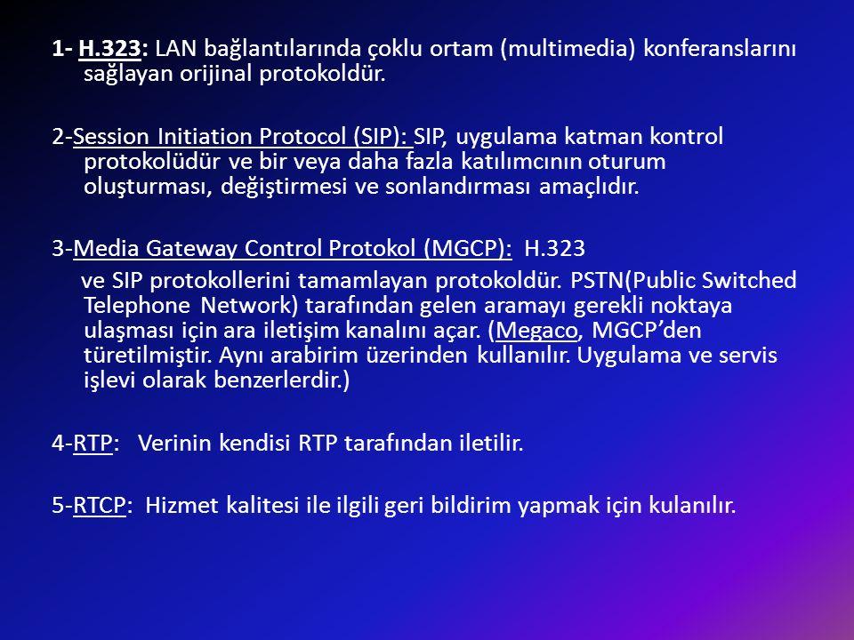 1- H.323: LAN bağlantılarında çoklu ortam (multimedia) konferanslarını sağlayan orijinal protokoldür.