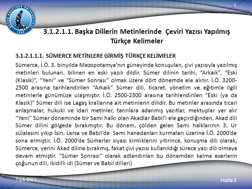 Türk Dili I Hafta 3 1 3.1.2.1.1.