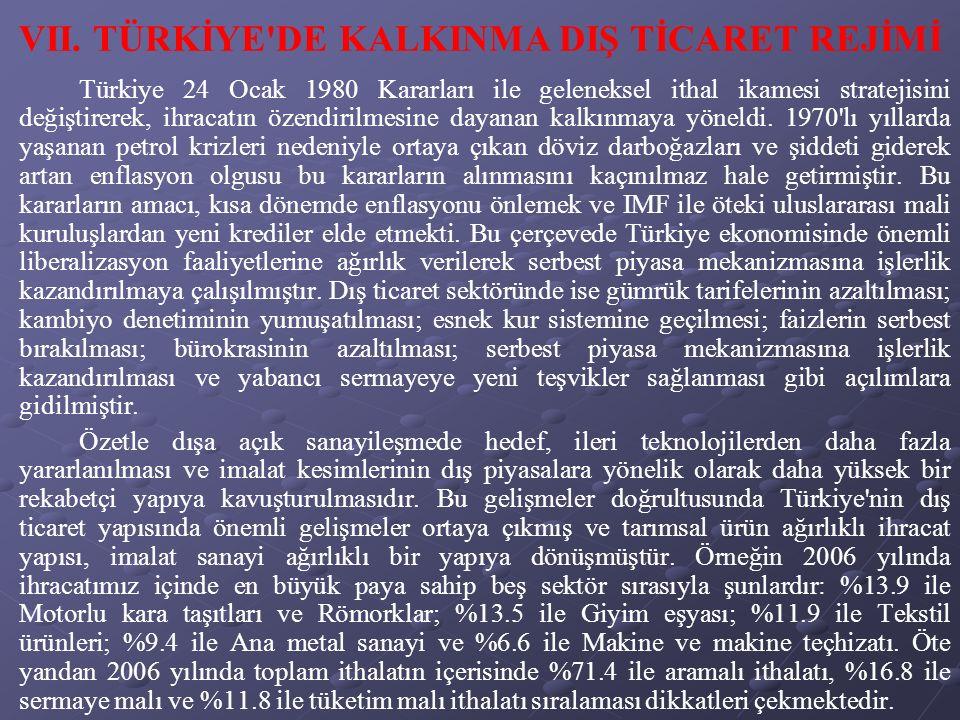 Türkiye 24 Ocak 1980 Kararları ile geleneksel ithal ikamesi stratejisini değiştirerek, ihracatın özendirilmesine dayanan kalkınmaya yöneldi.
