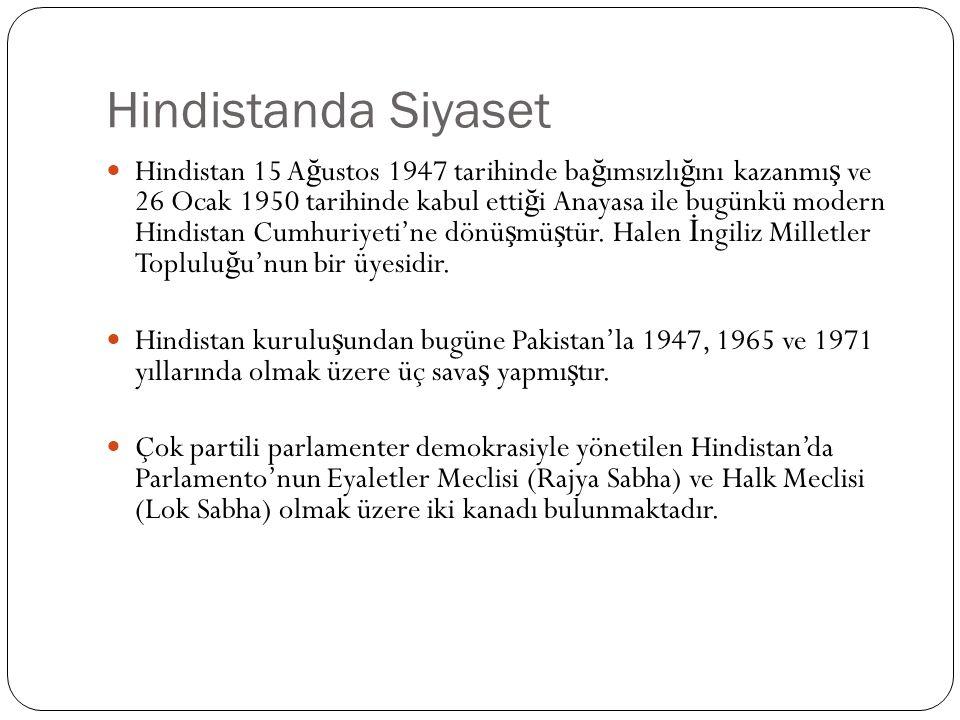 Hindistanda Siyaset Hindistan 15 A ğ ustos 1947 tarihinde ba ğ ımsızlı ğ ını kazanmı ş ve 26 Ocak 1950 tarihinde kabul etti ğ i Anayasa ile bugünkü modern Hindistan Cumhuriyeti'ne dönü ş mü ş tür.