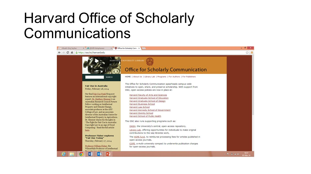 Harvard Office of Scholarly Communications
