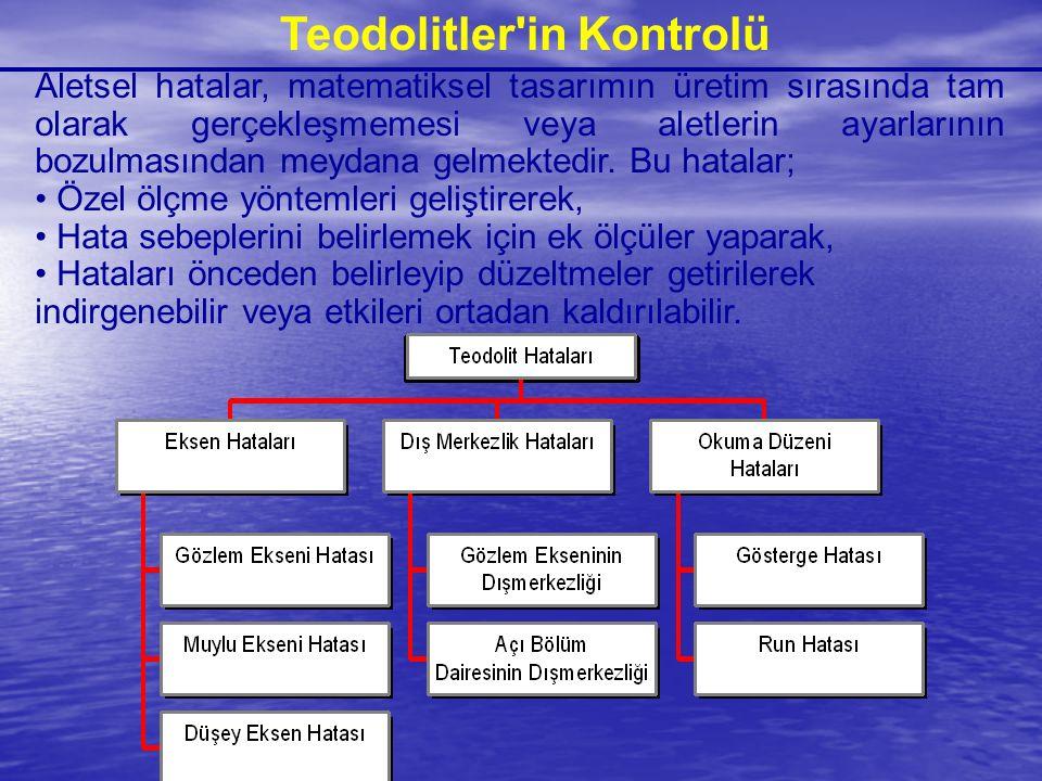 Teodolitler'in Kontrolü Aletsel hatalar, matematiksel tasarımın üretim sırasında tam olarak gerçekleşmemesi veya aletlerin ayarlarının bozulmasından m