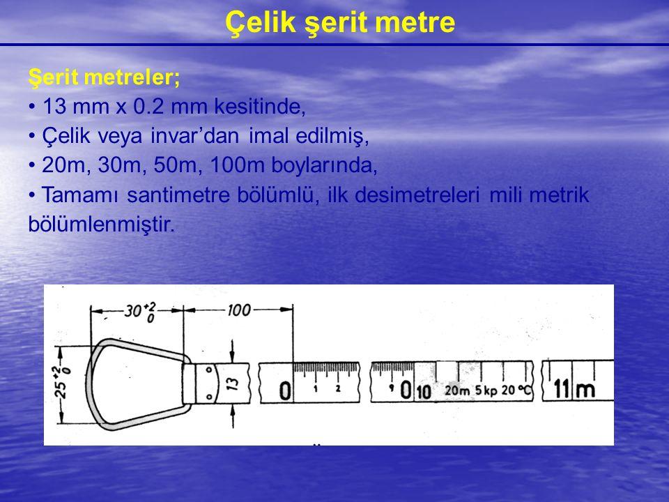Çelik şerit metre Şerit metreler; 13 mm x 0.2 mm kesitinde, Çelik veya invar'dan imal edilmiş, 20m, 30m, 50m, 100m boylarında, Tamamı santimetre bölüm