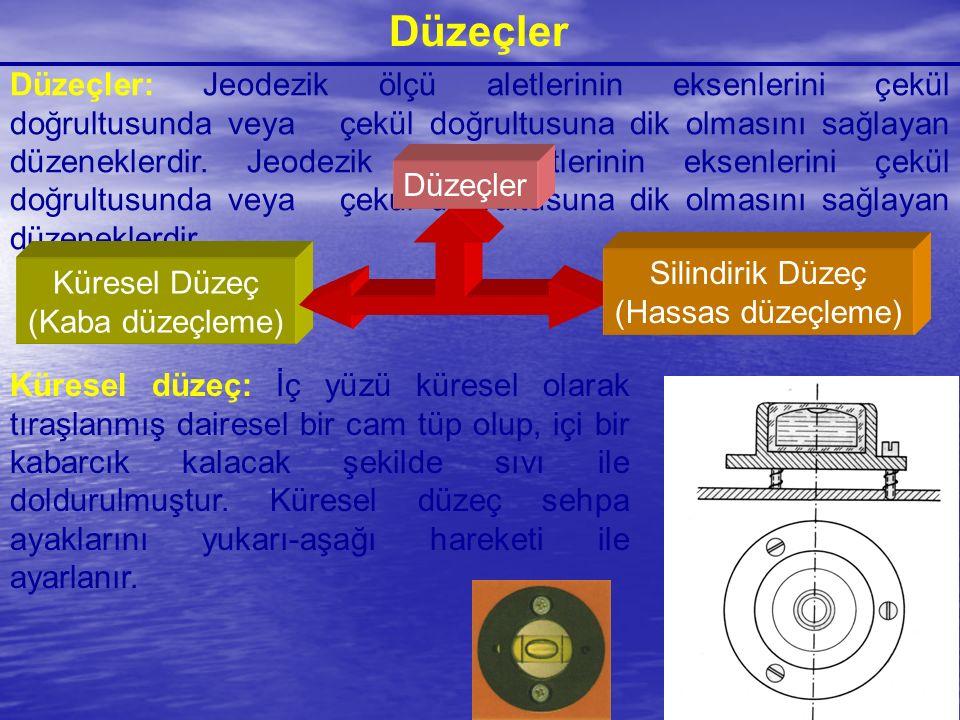 Düzeçler Düzeçler: Jeodezik ölçü aletlerinin eksenlerini çekül doğrultusunda veya çekül doğrultusuna dik olmasını sağlayan düzeneklerdir. Jeodezik ölç