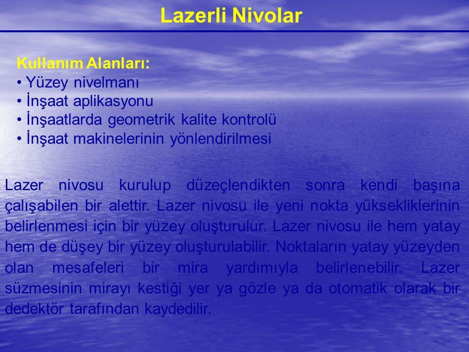 Lazerli Nivolar Kullanım Alanları: Yüzey nivelmanı İnşaat aplikasyonu İnşaatlarda geometrik kalite kontrolü İnşaat makinelerinin yönlendirilmesi Lazer