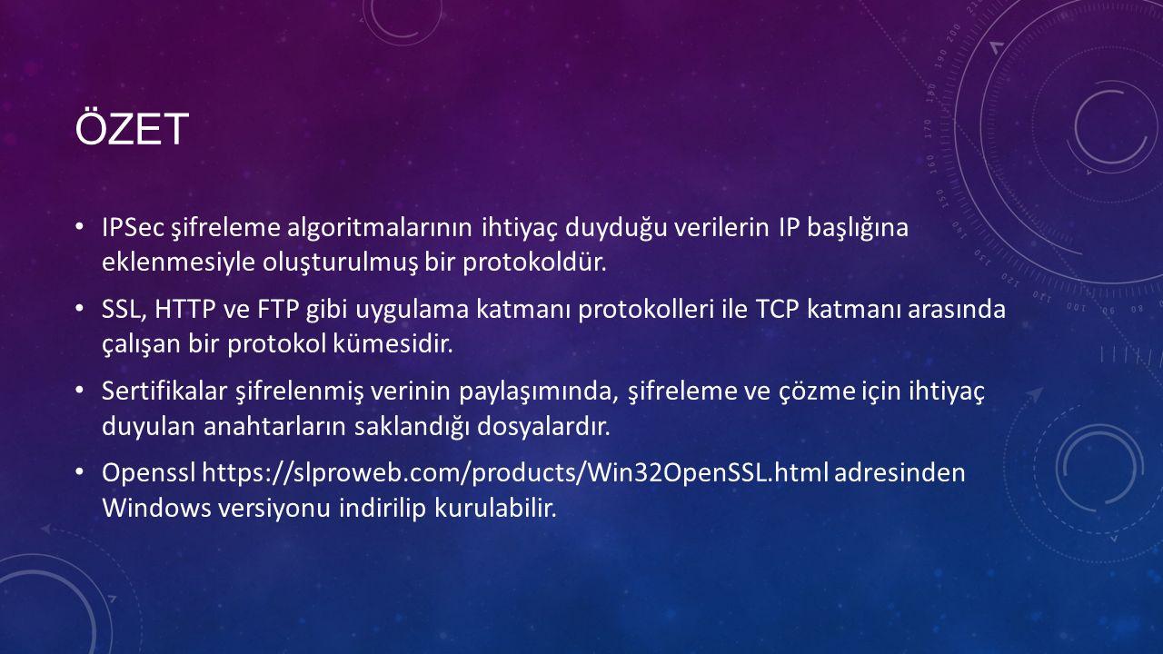 ÖZET IPSec şifreleme algoritmalarının ihtiyaç duyduğu verilerin IP başlığına eklenmesiyle oluşturulmuş bir protokoldür.