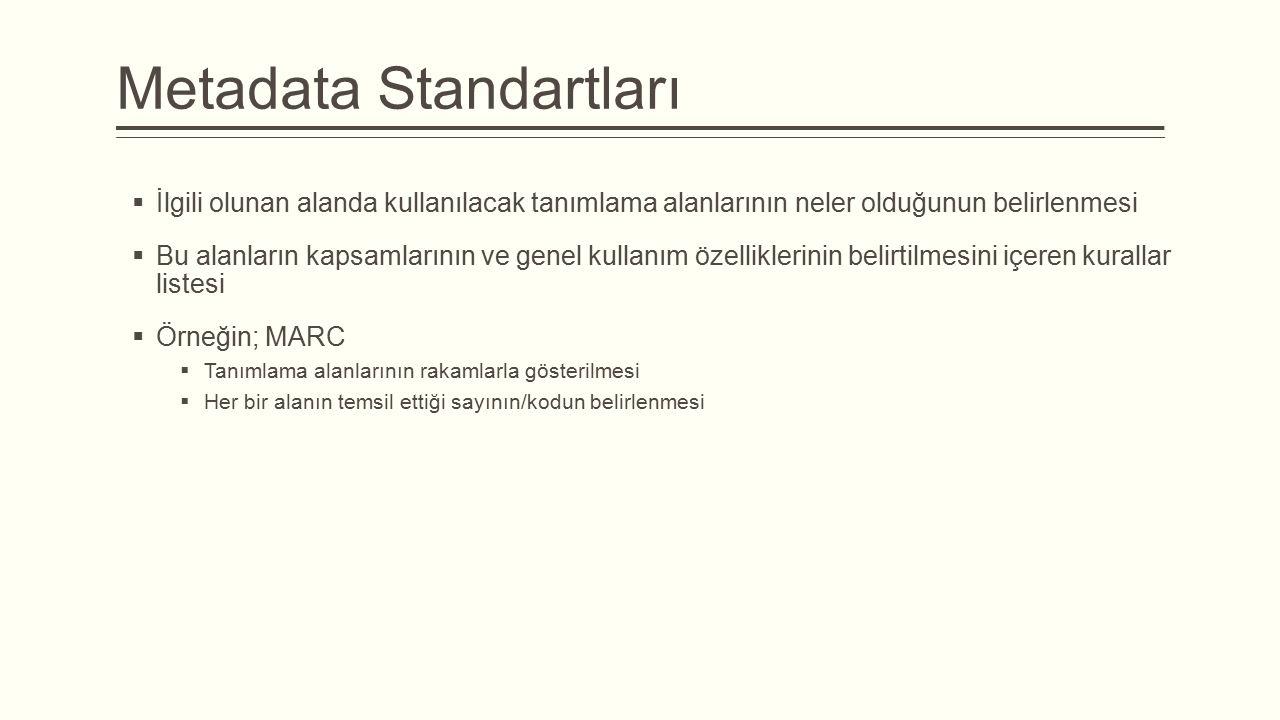 Metadata Standartları  İlgili olunan alanda kullanılacak tanımlama alanlarının neler olduğunun belirlenmesi  Bu alanların kapsamlarının ve genel kullanım özelliklerinin belirtilmesini içeren kurallar listesi  Örneğin; MARC  Tanımlama alanlarının rakamlarla gösterilmesi  Her bir alanın temsil ettiği sayının/kodun belirlenmesi