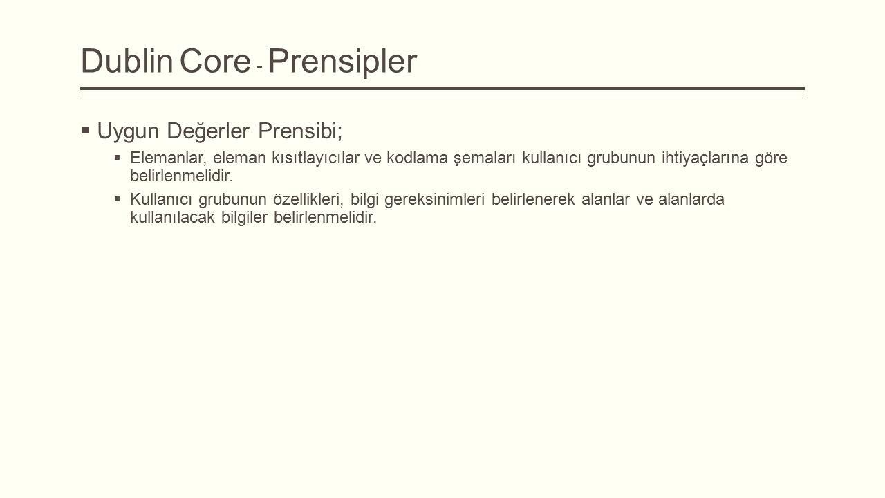 Dublin Core - Prensipler  Uygun Değerler Prensibi;  Elemanlar, eleman kısıtlayıcılar ve kodlama şemaları kullanıcı grubunun ihtiyaçlarına göre belirlenmelidir.