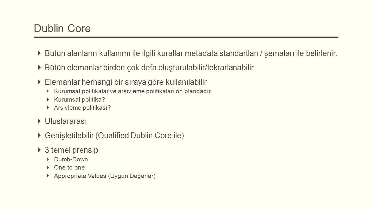 Dublin Core  Bütün alanların kullanımı ile ilgili kurallar metadata standartları / şemaları ile belirlenir.  Bütün elemanlar birden çok defa oluştur