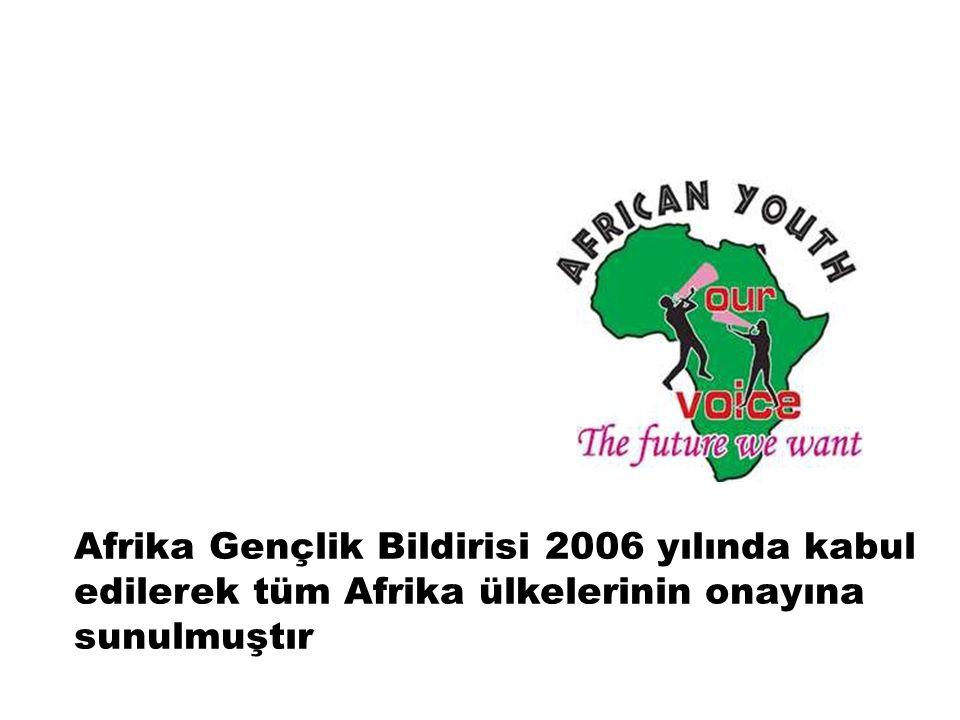Afrika Gençlik Bildirisi o günlerin Birleşmiş Milletler gençlik için on yıl programına uyumlu olarak geliştirilmiştir