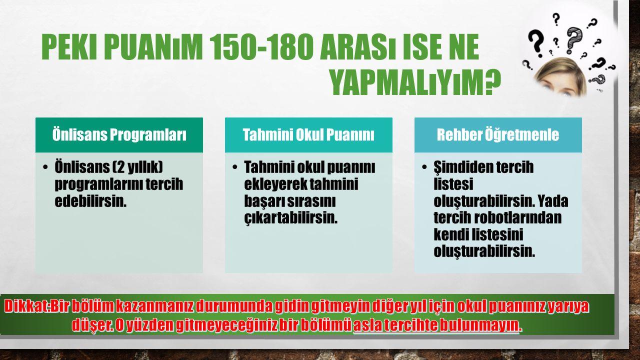 PEKI PUANıM 150-180 ARASı ISE NE YAPMALıYıM.