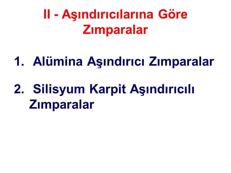 II - Aşındırıcılarına Göre Zımparalar 1. Alümina Aşındırıcı Zımparalar 2. Silisyum Karpit Aşındırıcılı Zımparalar