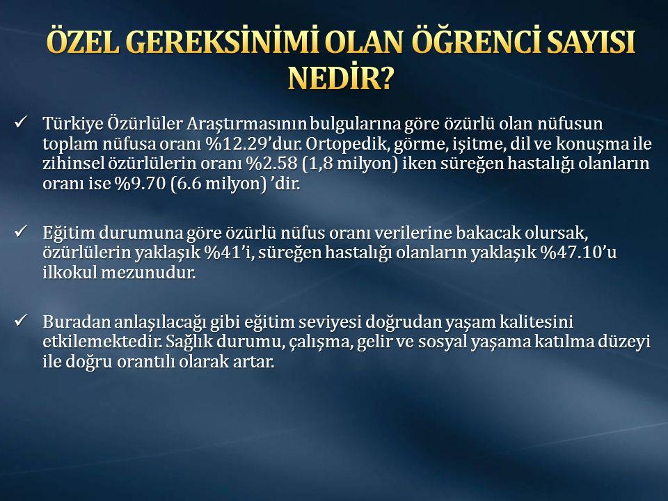 Türkiye Özürlüler Araştırmasının bulgularına göre özürlü olan nüfusun toplam nüfusa oranı %12.29'dur.