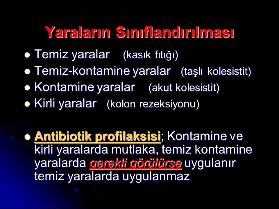 Yaraların Sınıflandırılması Temiz yaralar (kasık fıtığı) Temiz yaralar (kasık fıtığı) Temiz-kontamine yaralar (taşlı kolesistit) Temiz-kontamine yaral