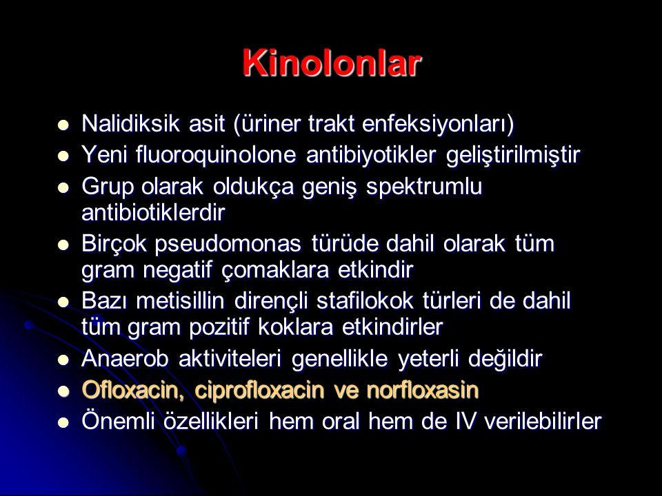 Kinolonlar Nalidiksik asit (üriner trakt enfeksiyonları) Nalidiksik asit (üriner trakt enfeksiyonları) Yeni fluoroquinolone antibiyotikler geliştirilm