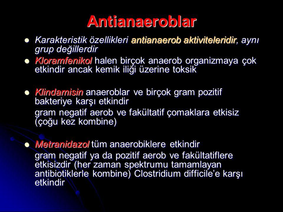 Antianaeroblar Karakteristik özellikleri antianaerob aktiviteleridir, aynı grup değillerdir Karakteristik özellikleri antianaerob aktiviteleridir, ayn