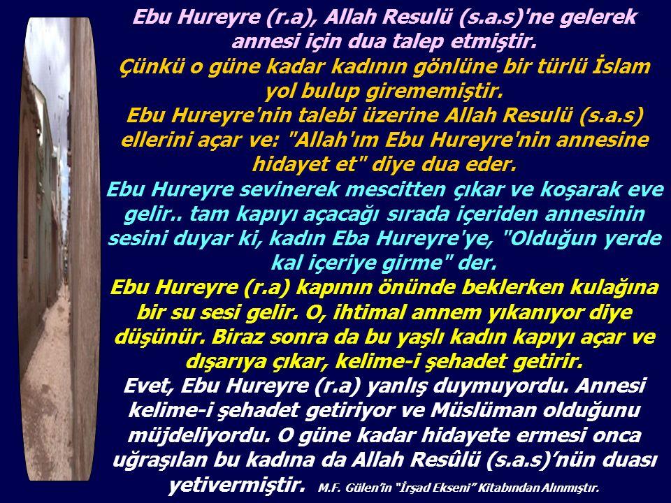 Ebu Hureyre (r.a), Allah Resulü (s.a.s)'ne gelerek annesi için dua talep etmiştir. Çünkü o güne kadar kadının gönlüne bir türlü İslam yol bulup gireme