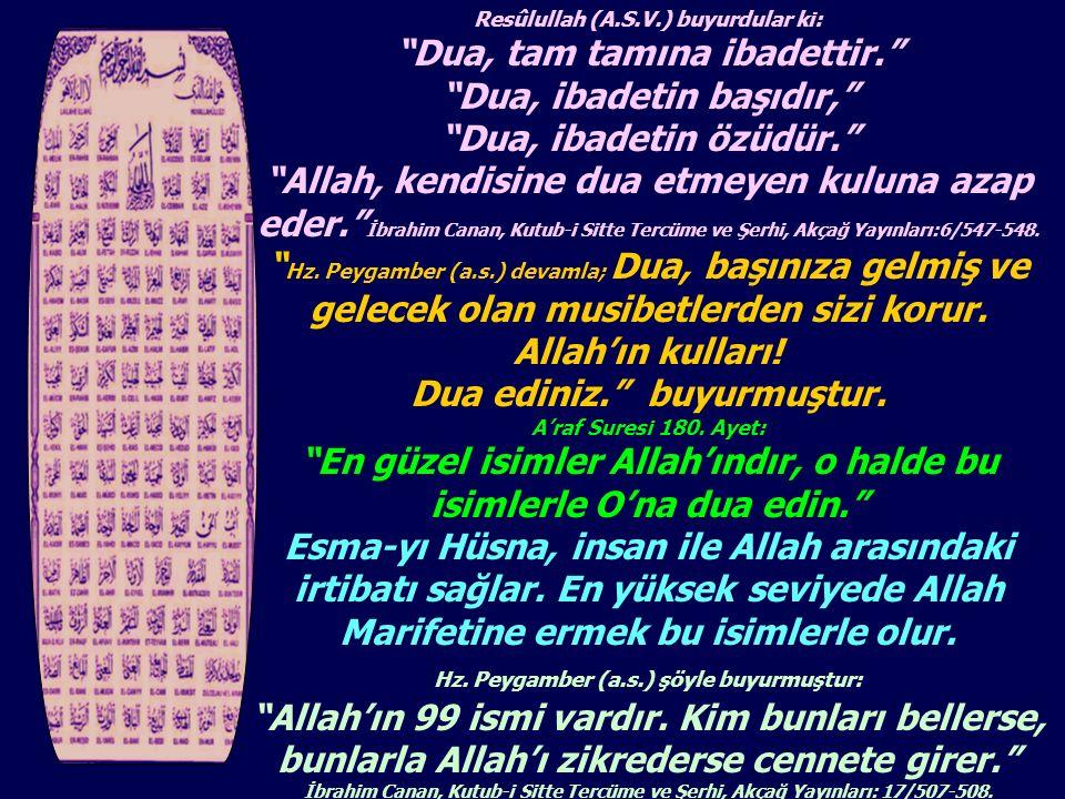 """Resûlullah (A.S.V.) buyurdular ki: """"Dua, tam tamına ibadettir."""" """"Dua, ibadetin başıdır,"""" """"Dua, ibadetin özüdür."""" """"Allah, kendisine dua etmeyen kuluna"""