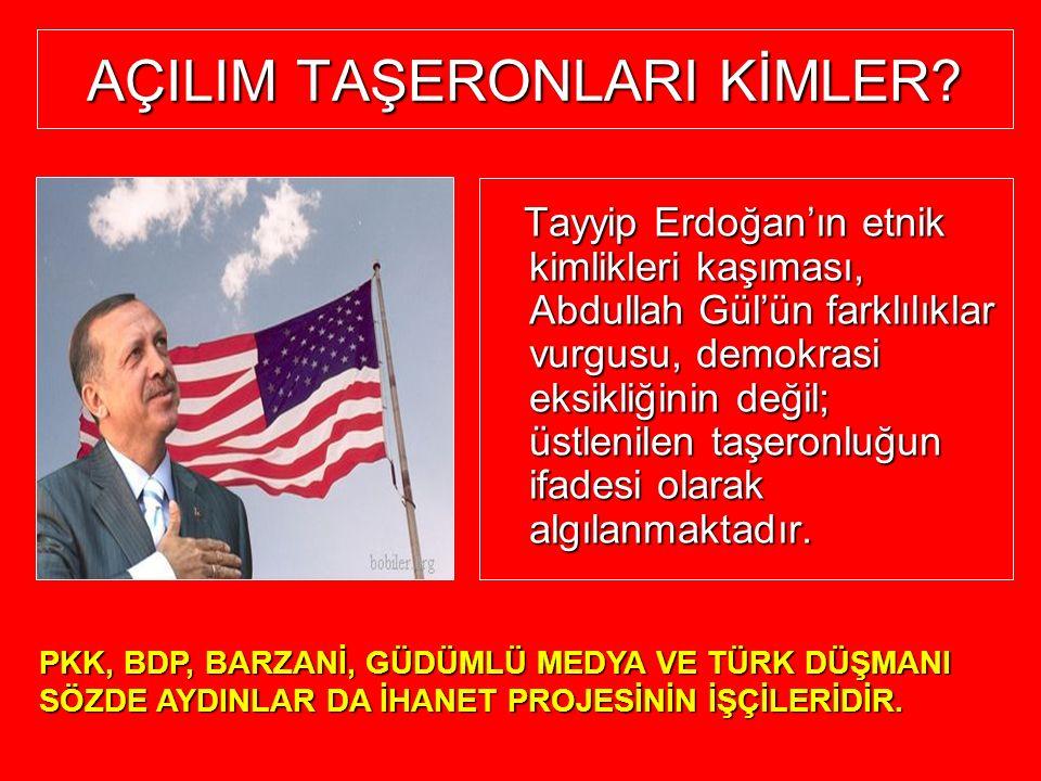 AÇILIM TAŞERONLARI KİMLER? Tayyip Erdoğan'ın etnik kimlikleri kaşıması, Abdullah Gül'ün farklılıklar vurgusu, demokrasi eksikliğinin değil; üstlenilen