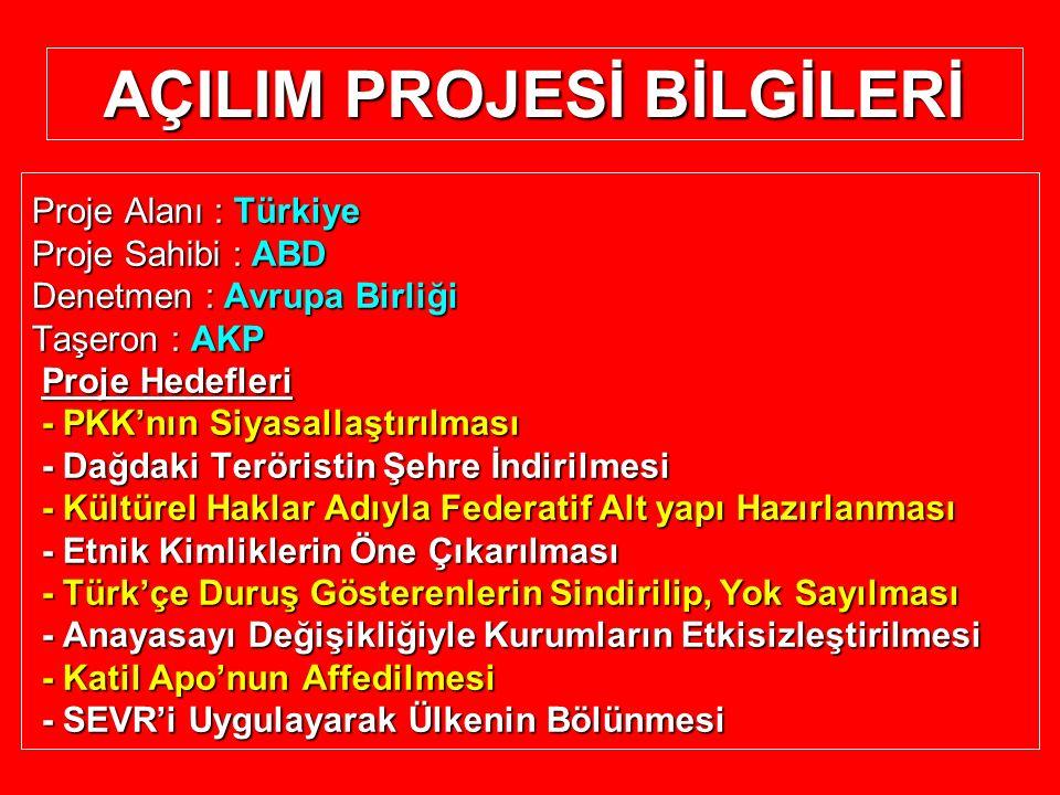 AÇILIM PROJESİ BİLGİLERİ Proje Alanı : Türkiye Proje Sahibi : ABD Denetmen : Avrupa Birliği Taşeron : AKP Proje Hedefleri Proje Hedefleri - PKK'nın Si