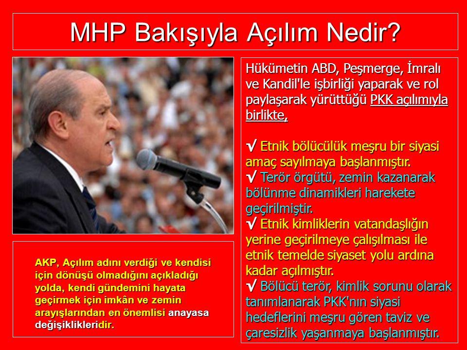 MHP Bakışıyla Açılım Nedir? AKP, AKP, Açılım Açılım adını verdiği ve kendisi için dönüşü olmadığını açıkladığı yolda, kendi gündemini hayata geçirmek