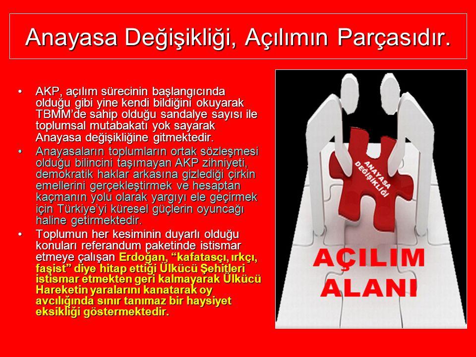 Anayasa Değişikliği, Açılımın Parçasıdır. AKP,AKP, açılım sürecinin başlangıcında olduğu gibi yine kendi bildiğini okuyarak TBMM'de sahip olduğu sanda