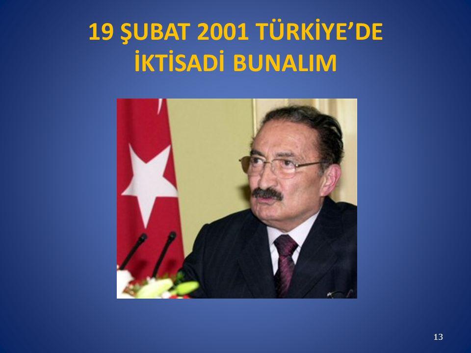 19 ŞUBAT 2001 TÜRKİYE'DE İKTİSADİ BUNALIM 13