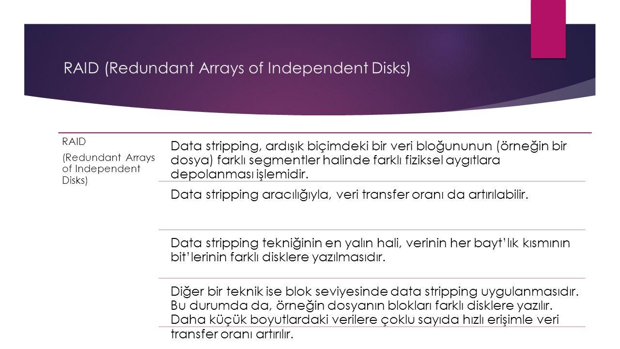 RAID (Redundant Arrays of Independent Disks) RAID (Redundant Arrays of Independent Disks) Data stripping, ardışık biçimdeki bir veri bloğununun (örneğ