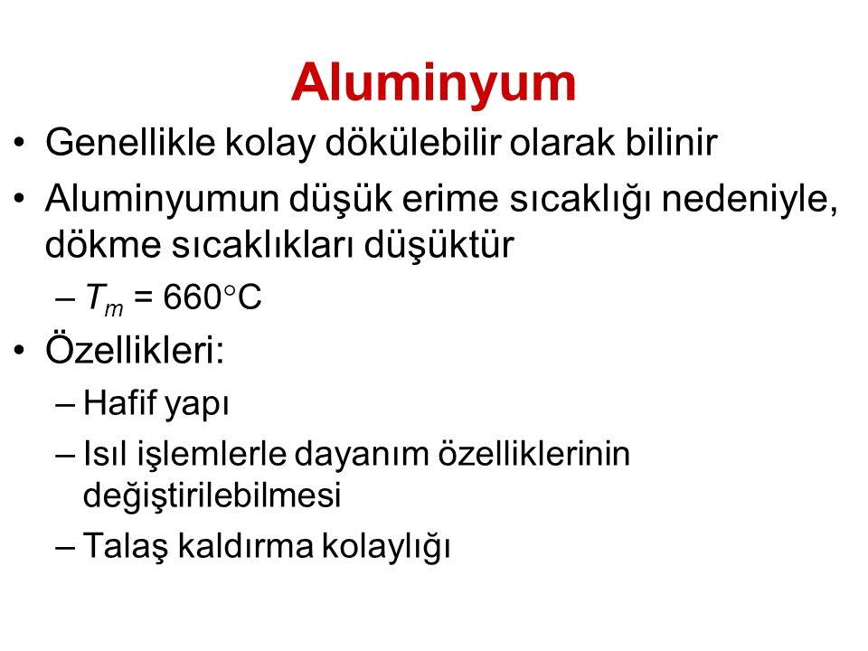 Aluminyum Genellikle kolay dökülebilir olarak bilinir Aluminyumun düşük erime sıcaklığı nedeniyle, dökme sıcaklıkları düşüktür –T m = 660  C Özellikl